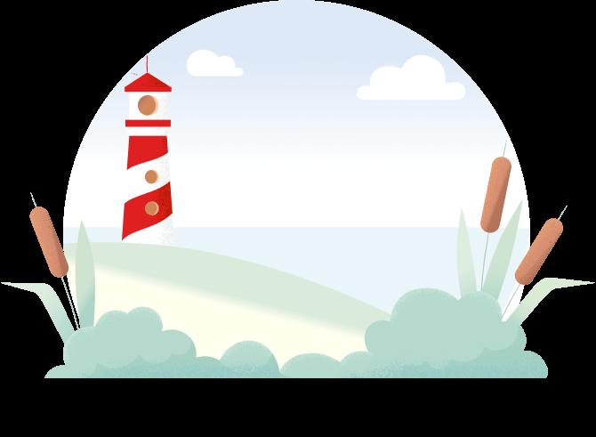 dessin d'un paysage de bord de mer avec un phare au loin