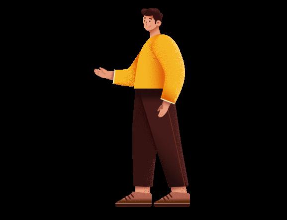 dessin d'un homme qui tend la main pour dire bonjour