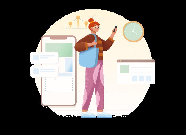 dessin d'une femme en chignon avec un téléphone à la main