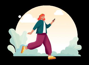femme qui court avec un téléphone portable